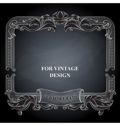 frame with floral ornament on dark vector image vector image