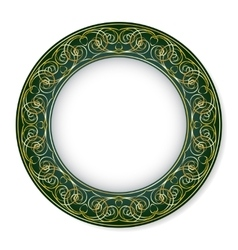 Frame with gold pattern on a green background vector image vector image