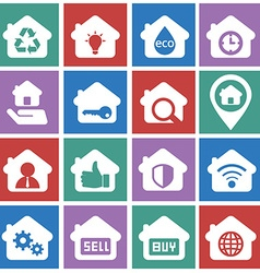 House and rental icon set for business vector image