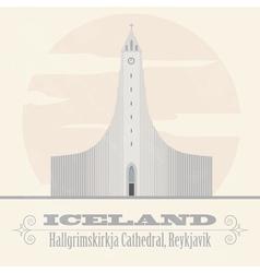 Iceland landmarks retro styled image vector