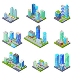 isometric 3d set summer city quarters vector image vector image