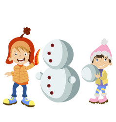 kids making snowman vector image vector image