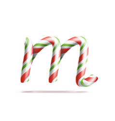 letter m 3d realistic candy cane alphabet vector image vector image