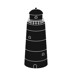 Lighthouse icon in black style isolated on white vector image