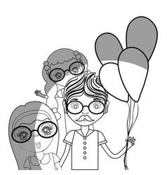 Line father with his daughters and balloons vector