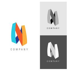 logo design element letter symbol n vector image vector image