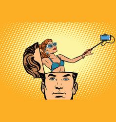 Man with an open head selfie girl smartphone vector