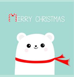 merry christmas candy cane polar white bear cub vector image vector image