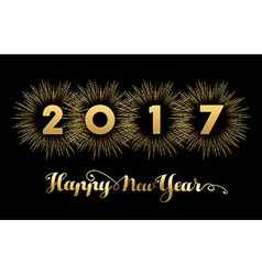 New Year 2017 gold design with fireworks vector image vector image