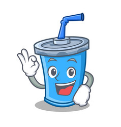 Okay soda drink character cartoon vector