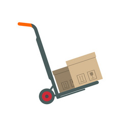 packing boxes on hand truck in flat design vector image vector image