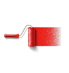 Paint roller brush with red paint track vector image vector image
