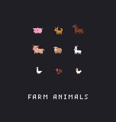 Pixel art farm animals vector