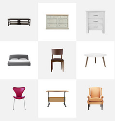Realistic cupboard commode furniture and other vector