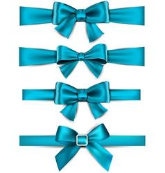 Satin blue ribbons gift bows vector
