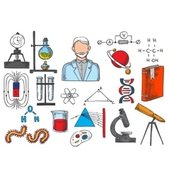 Science items sketch icons vector