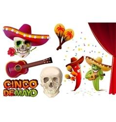 Set Cinco de Mayo Mexican skull in sombrero vector image