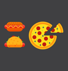 set of colorful cartoon fast food pizza icons vector image vector image
