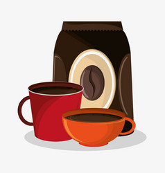 Set porcelain mugs and packaking of coffee vector