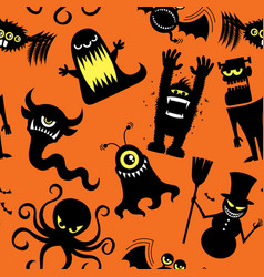 Silhouette monsters pattern vector