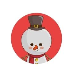 snowman christmas character kawaii style vector image