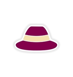 Stylish paper sticker on white background hat vector