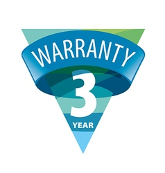 Triangular logo 3 year warranty vector