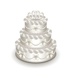 wedding cake isolated on white vector image vector image