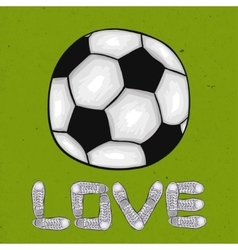 Words of love for the sport on the football field vector