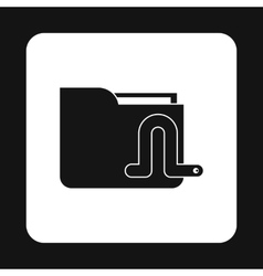 Worm in e-mail icon simple style vector
