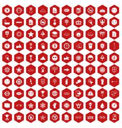 100 symbol icons hexagon red vector
