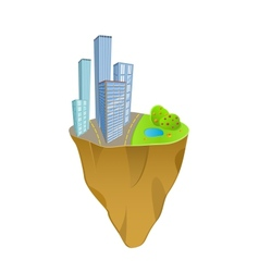 Buildings and nature concept on mini slice planet vector
