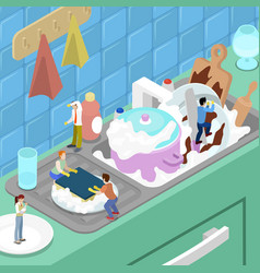 Miniature people washing the dishes in the kitchen vector