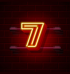 neon city font number 7 vector image