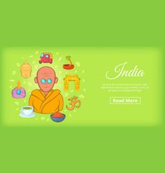 India travel horizontal banner cartoon style vector