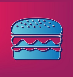 Burger simple sign  blue 3d printed icon vector