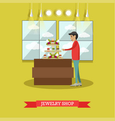 Jewelry shop concept in flat vector
