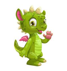 little cute cartoon green dragon vector image