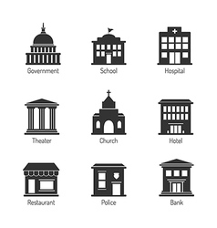 Government building icons vector image