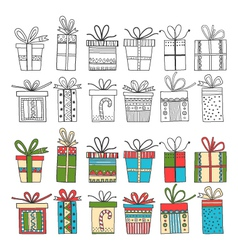 Set of gift packages christmas gifts vector