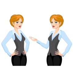 Business woman making proposal vector