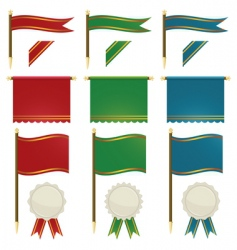Flags and ribbons vector