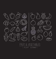 Flat fruits vegetables icons black vector