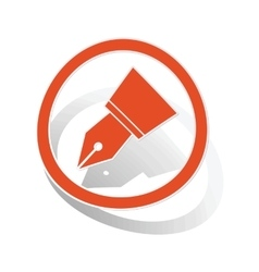 Ink pen sign sticker orange vector