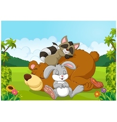 Cartoon wild animals sleeping in the jungle vector