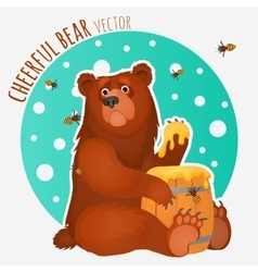 Cheerful bear with bees and honey vector