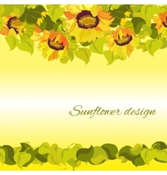 Sunflower yellow border horisontal gesign vector image
