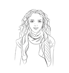 The girl in a scarf vector