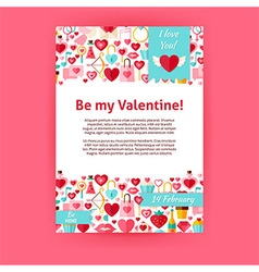 Be my valentine holiday invitation template flyer vector