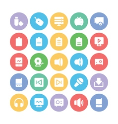 Multimedia colored icons 7 vector